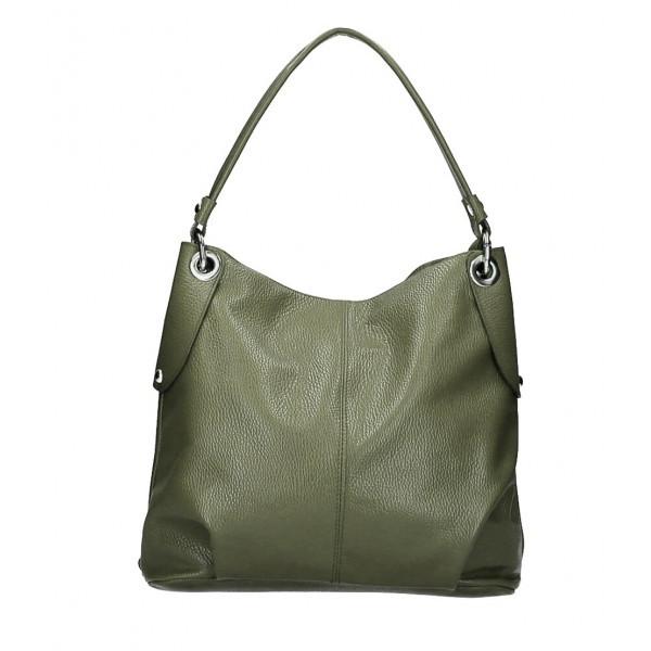 Kožená kabelka 168 vojenska zelená Made in Italy Zelená