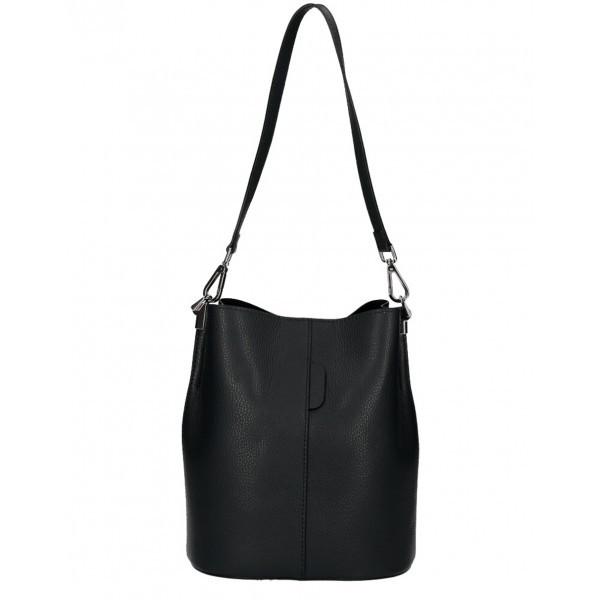 Kožená kabelka 401 Made in Italy čierna Čierna