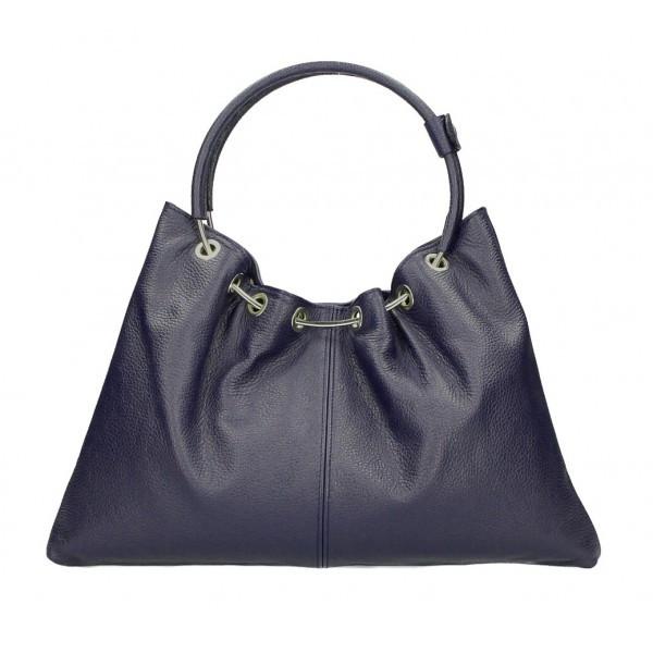 Kožená kabelka do ruky 1458 tmavomodrá MADE IN ITALY Modrá
