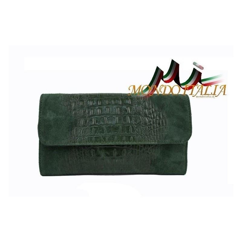 10e2404b28 Kožená kabelka kroko štýl 1251 zelená MADE IN ITALY 1251 - Talianske ...