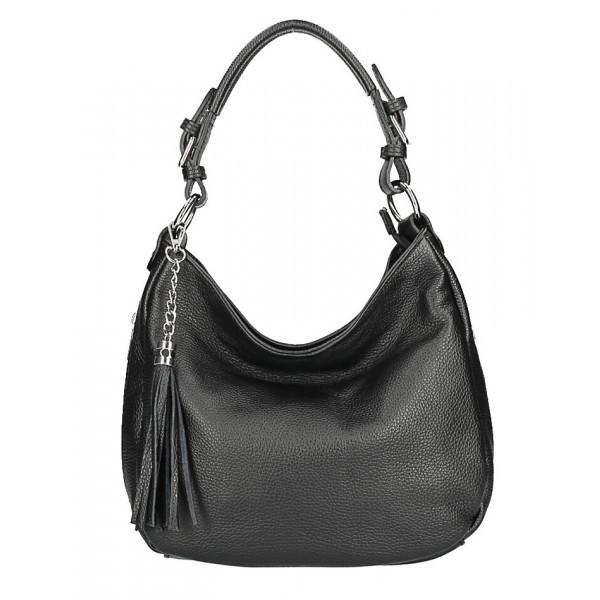 Kožená kabelka na rameno 210 Made in Italy čierna, Čierna