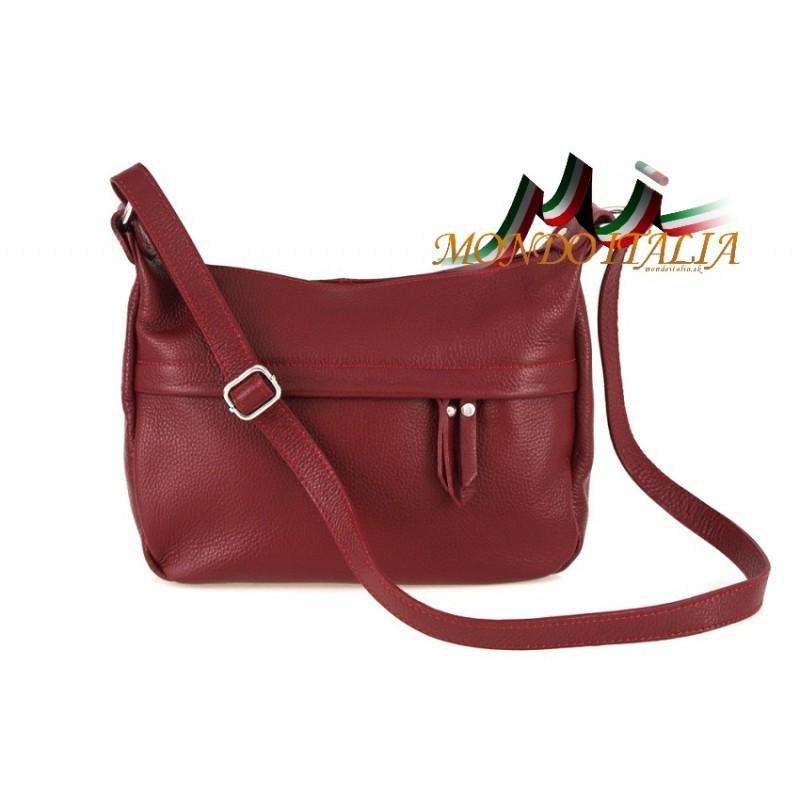 e3014e01fd Kožená kabelka na rameno 392 červená - Talianske kabelky - Locca.sk