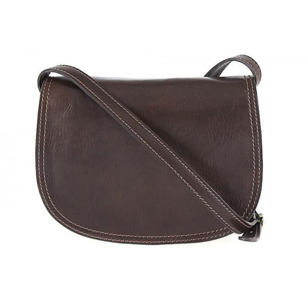 Kožená kabelka na rameno 675 tmavohnedá, Hnedá