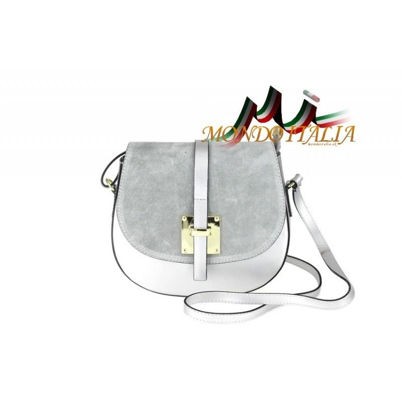 cec62caf92 Kožená kabelka na rameno 942 strieborná MADE IN ITALY - Talianske ...