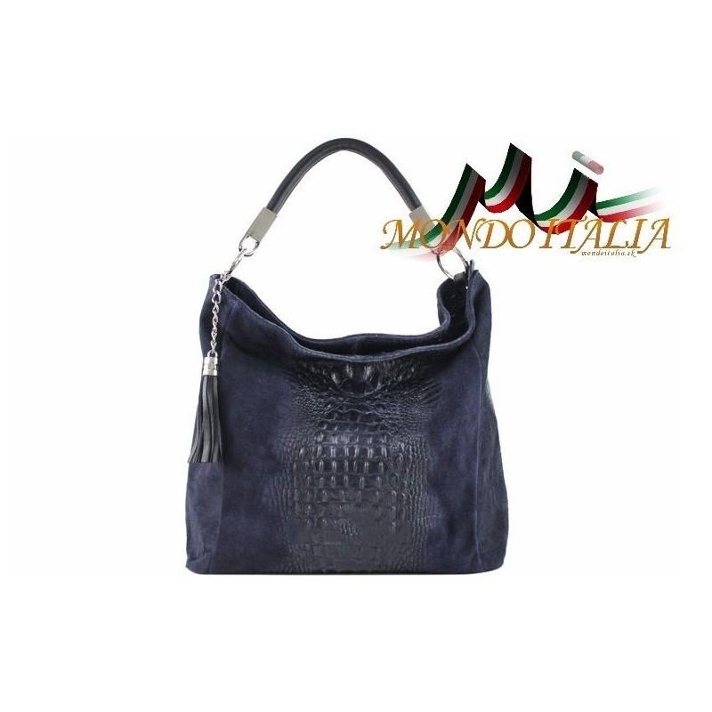 Kožená kabelka potlač krokodíl 145 modrá MADE IN ITALY 145