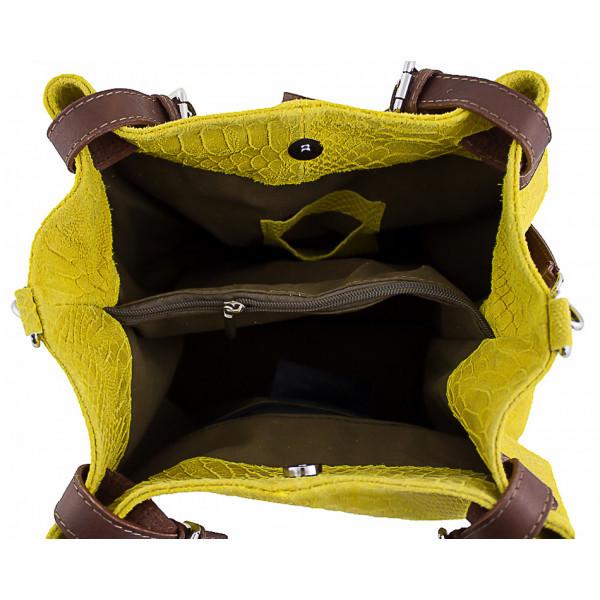 Kožená kabelka potlač pytón 35 modrá, Modrá