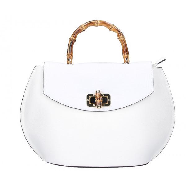 Kožená kabelka s bambusovými rúčkami 827 biela, Biela