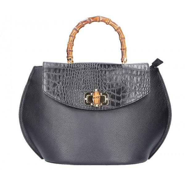 Kožená kabelka s bambusovými rúčkami 827 čierna, Čierna