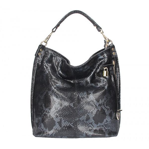 Kožená kabelka s hadím motívom 5324 čierna, Čierna
