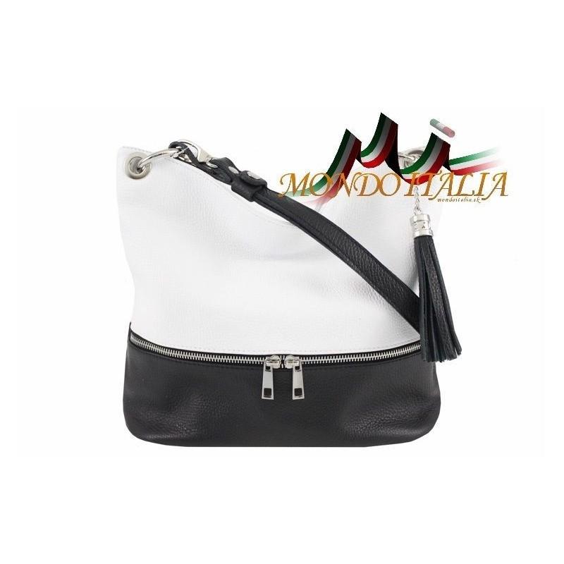 837c9907d5 Kožená talianska kabelka na rameno 143 čierna + biela MADE IN ITALY ...