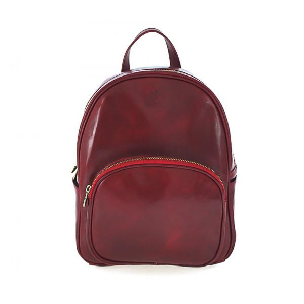 Kožený batoh 5341 červený Made in Italy, Červená