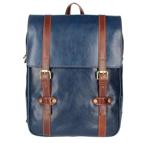 Kožený batoh 5342 modrá+hnedá MADE IN ITALY, Modrá