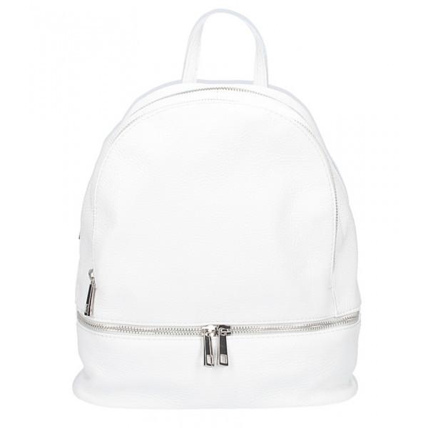 Kožený batoh MI1084 biely Made in Italy, Biela