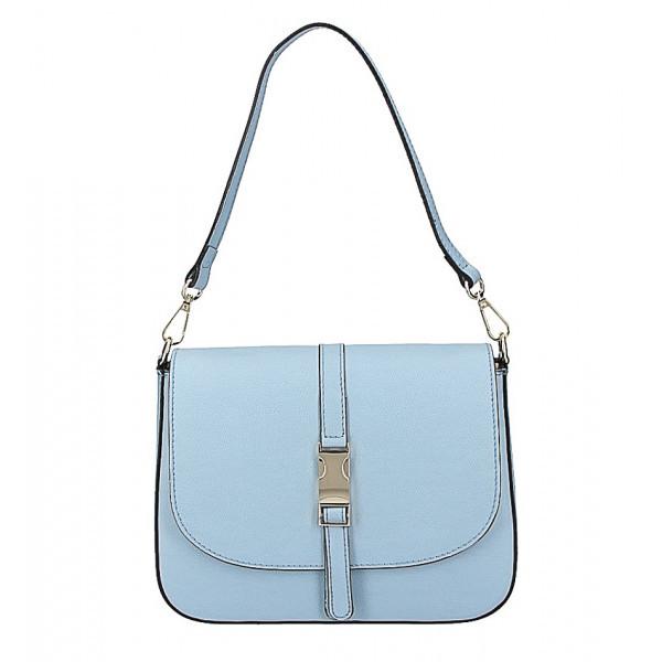 Nebesky modrá kožená kabelka na rameno 589, Nebesky modrá