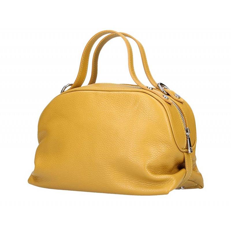 Okrová kožená kabelka 5301 MADE IN ITALY, Farba okrová MADE IN ITALY 5301