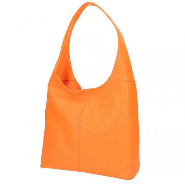 Oranžová kožená kabelka na rameno 590, Oranžová