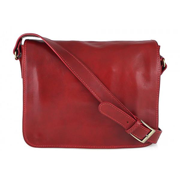 Pánska kožená taška na rameno 6022 červená, Červená