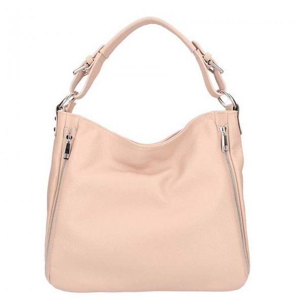 Ružová kožená kabelka na rameno 5310, Ružová