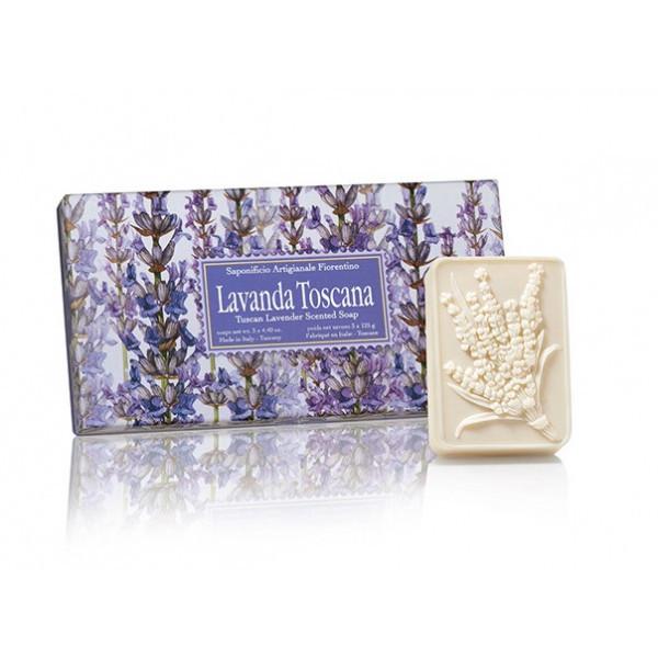 SA Fiorentino Prírodné rastlinné tuhé mydlo Levanduľa 3 x 125 g