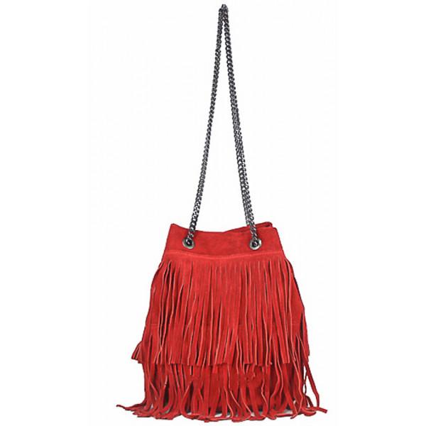 Semišová strapcová kožená kabelka 429 červená, Červená