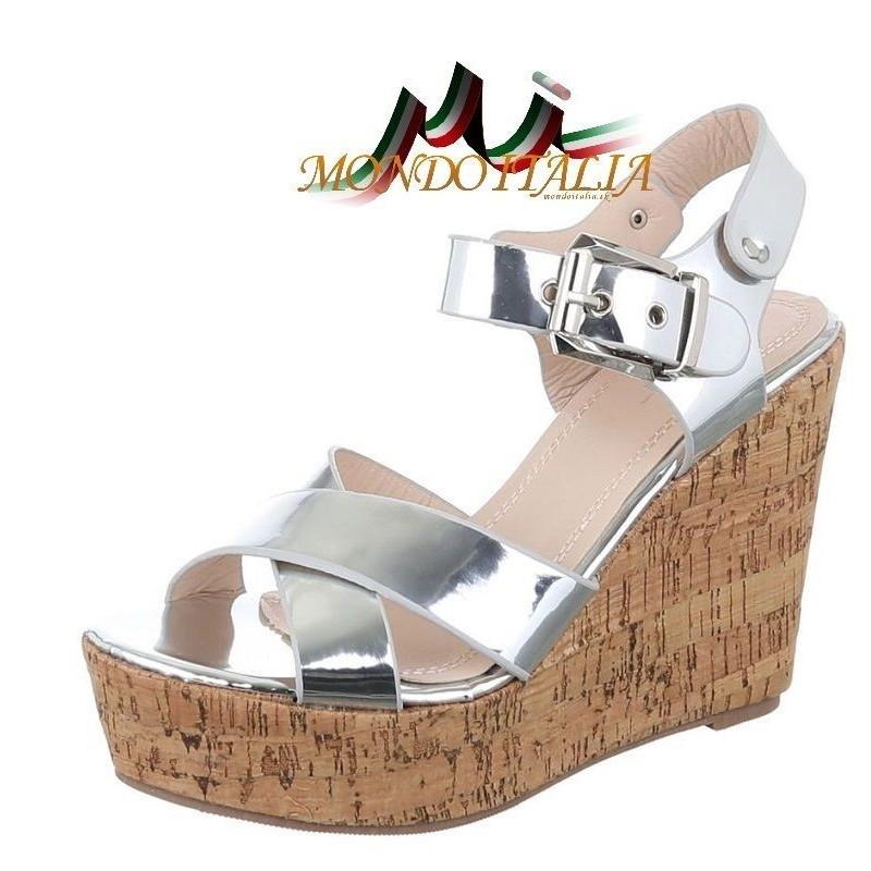 fb02083c0c36 Strieborné sandále na klíne 127G 127G - Dámske spoločenské sandále ...