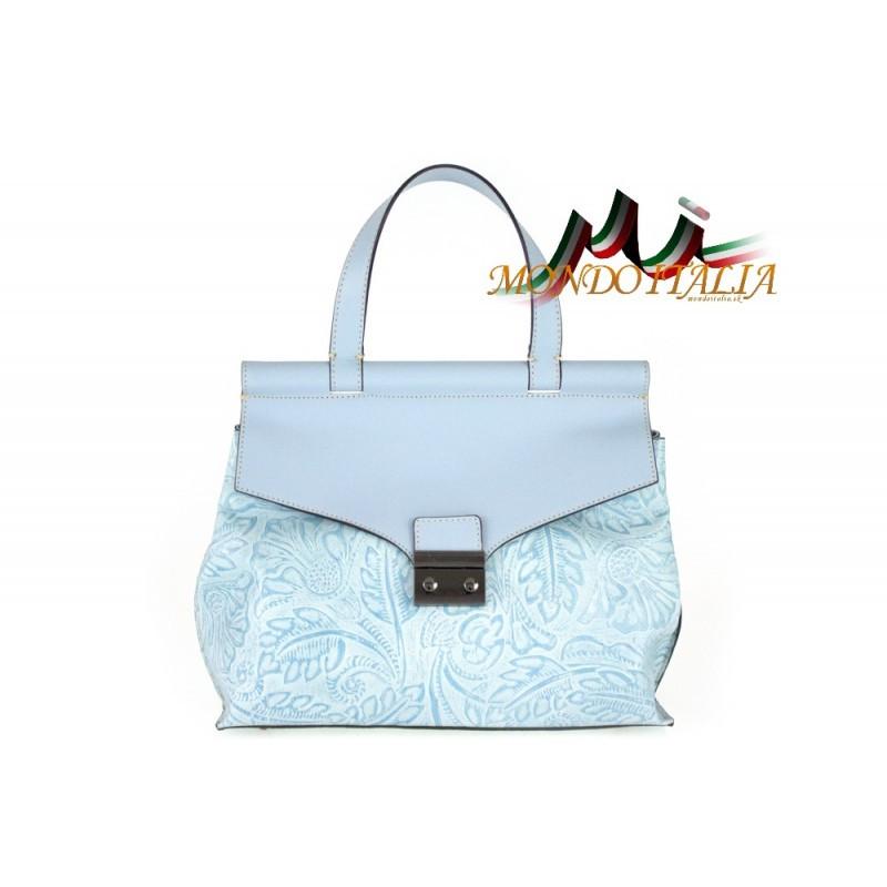 Talianska kožená kabelka 391 nebesky modrá MADE IN ITALY