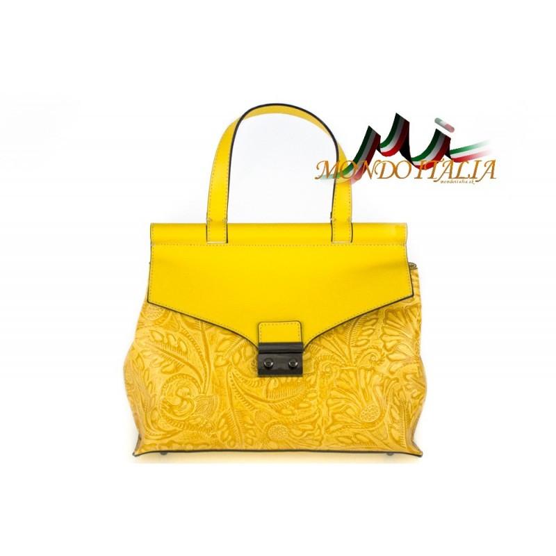 Talianska kožená kabelka 391 žltá MADE IN ITALY