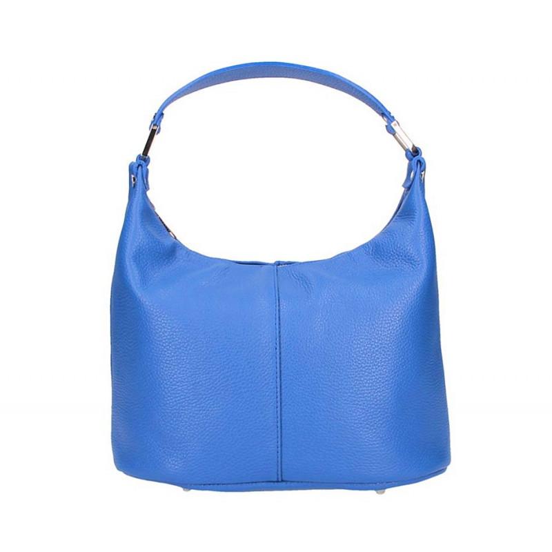 Talianska kožená kabelka 9011 azurovo modrá MADE IN ITALY, Farba modrá MADE IN ITALY SAMONA S7077