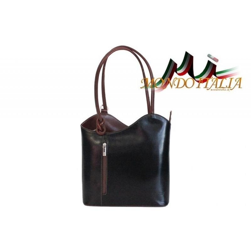 TALIANSKA KOŽENÁ KABELKA BATOH 113 čierna + hnedá MADE IN ITALY 113 ... ce86ebf5dc9