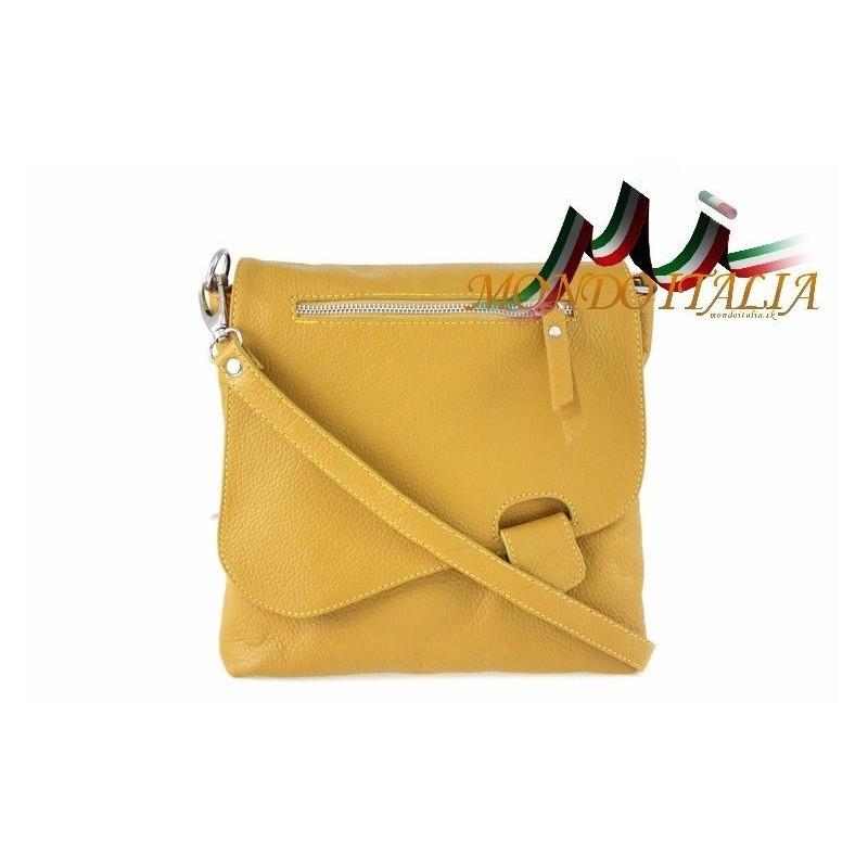 4d6c70501ea5 Talianska kožená kabelka cez rameno 9663 horčicová MADE IN ITALY 9663