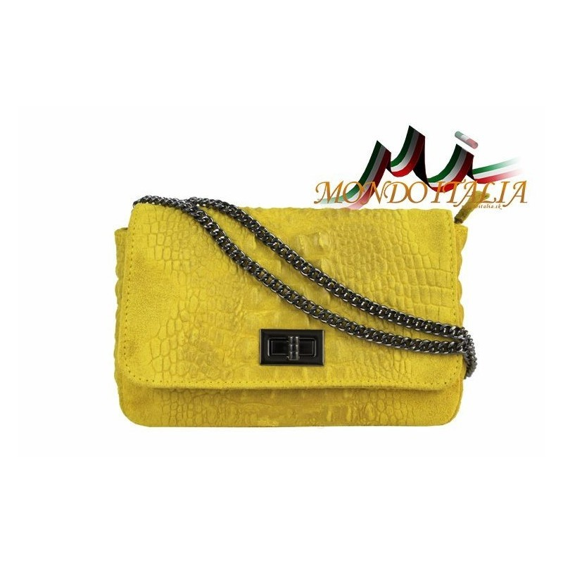 TALIANSKA KOŽENÁ KABELKA KROKO ŠTÝL 439 žltá MADE IN ITALY 439 ... 5a5684d39fc