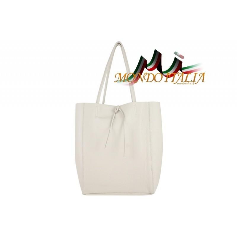 582453232 Talianska kožená kabelka na rameno 396 béžová MADE IN ITALY ...