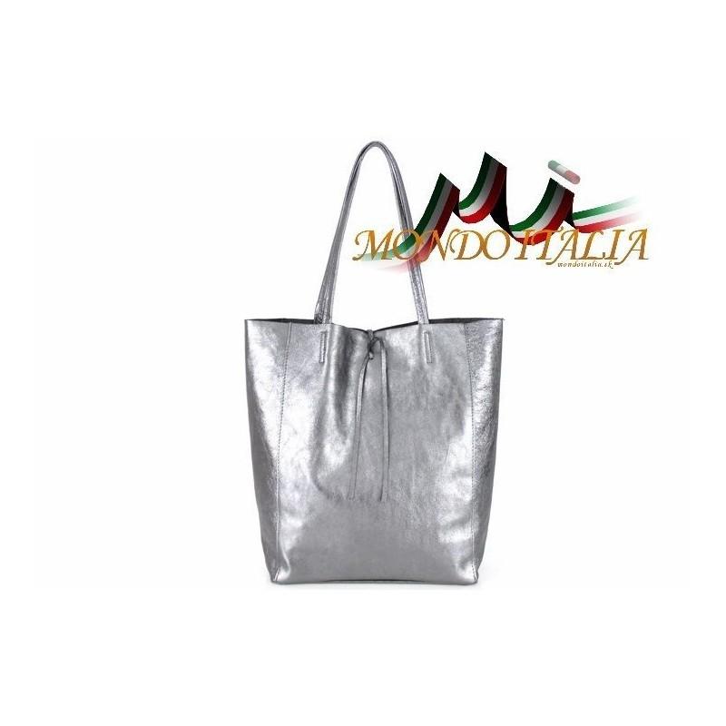 d7003cc912 Talianska kožená kabelka na rameno 396 strieborná MADE IN ITALY 396 ...