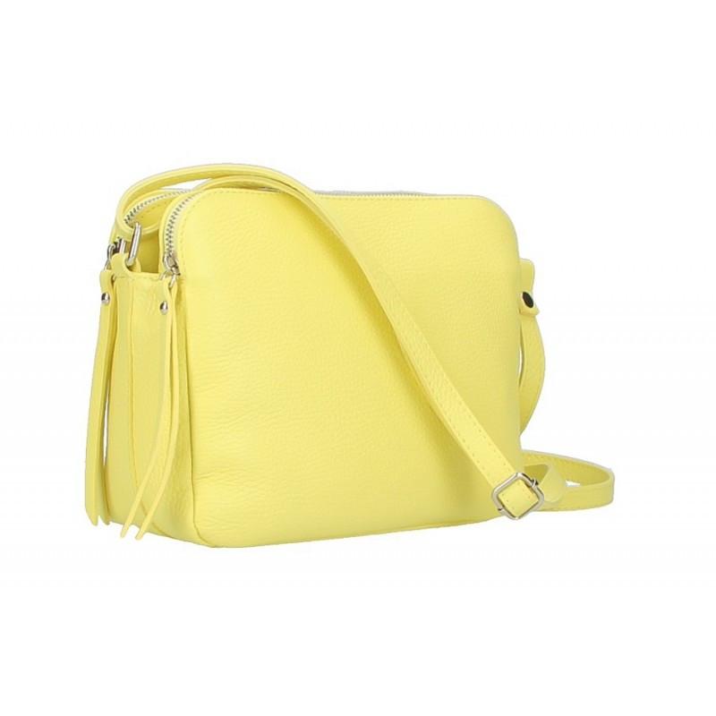 Talianska kožená kabelka na rameno 5313 citrónovo žltá, žltá