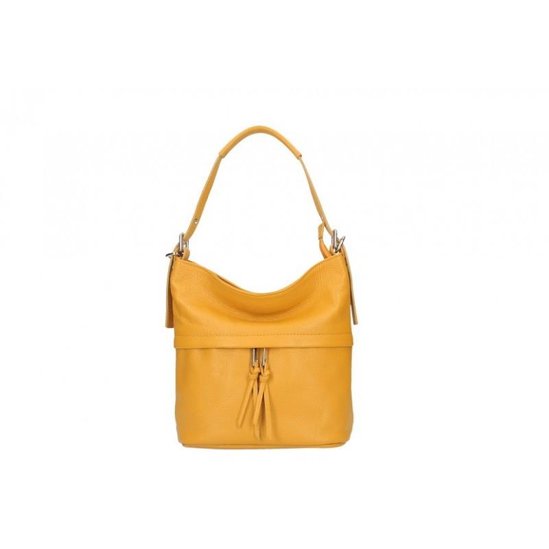 f67ea2d9069a Talianska kožená kabelka na rameno 631 okrová MADE IN ITALY