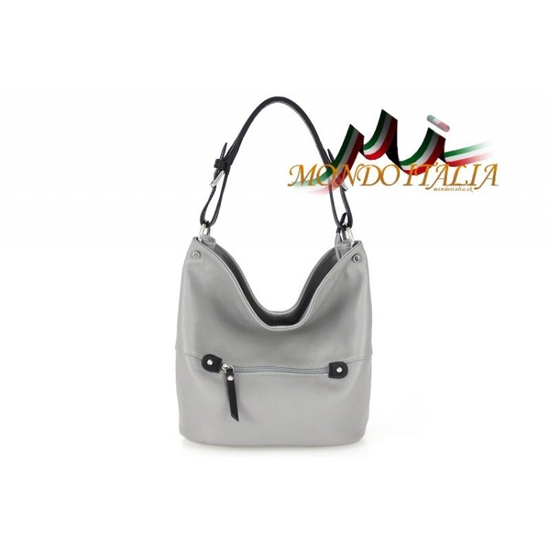 Talianska kožená kabelka na rameno 631 šedá MADE IN ITALY ... 7434cff52e3