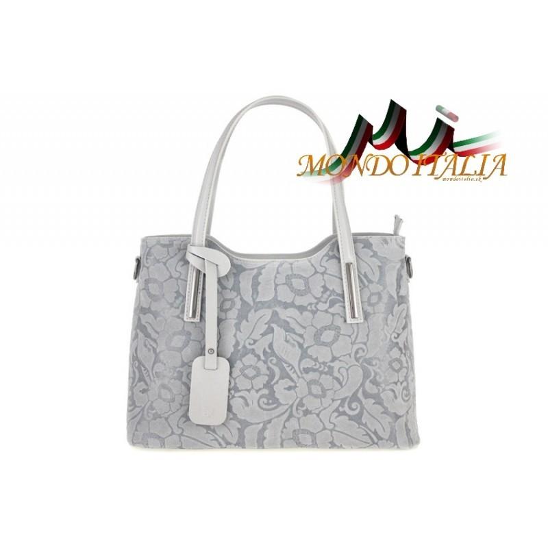 905b5af7c2 Talianska kožená kabelka s potlačou kvetov 681 šedá MADE IN ITALY ...