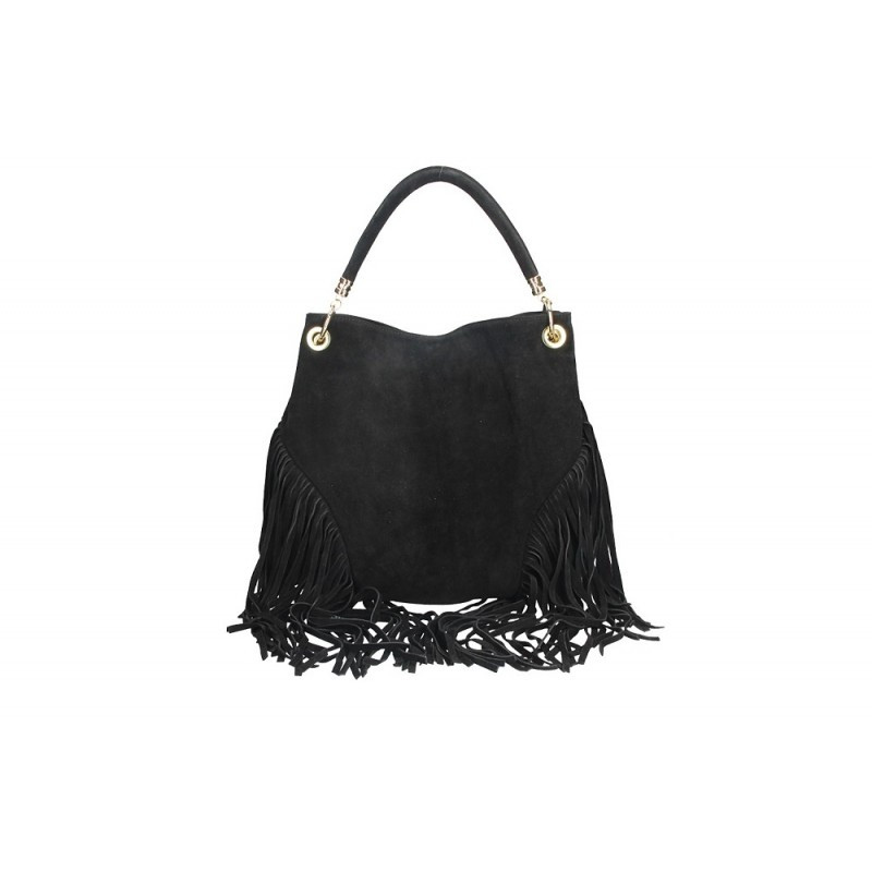 Talianska kožená kabelka v úprave semiš 5080 čierna MADE IN ITALY, čierna