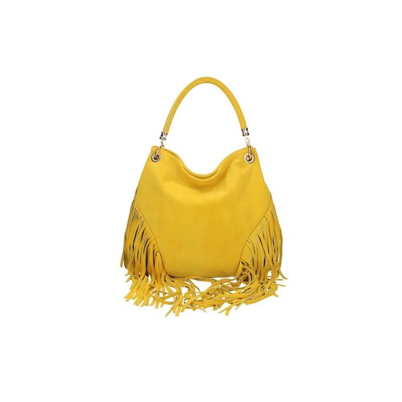 a955e145c3 Talianska kožená kabelka v úprave semiš 5080 žltá MADE IN ITALY ...