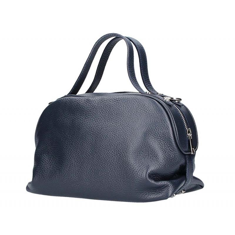 Tmavomodrá kožená kabelka 5301 MADE IN ITALY, Farba modrá MADE IN ITALY 5301