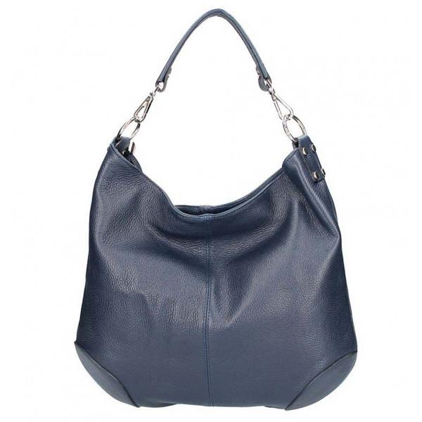 Tmavomodrá kožená kabelka na rameno 204, Modrá