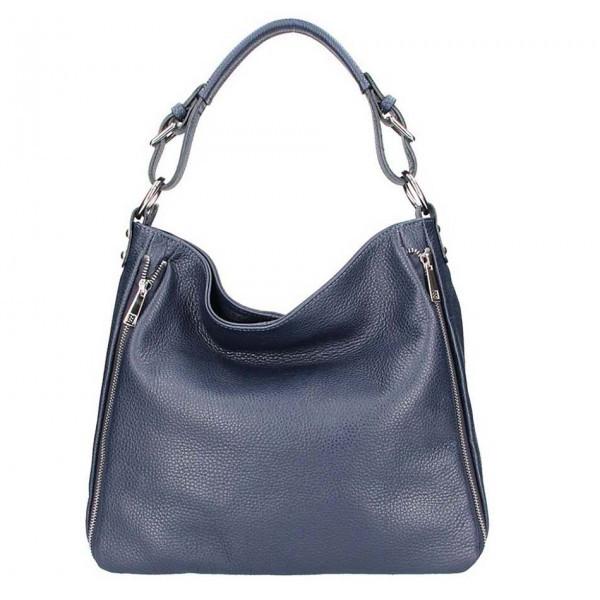 Tmavomodrá kožená kabelka na rameno 5310, Modrá