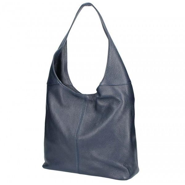 Tmavomodrá kožená kabelka na rameno 590, Modrá
