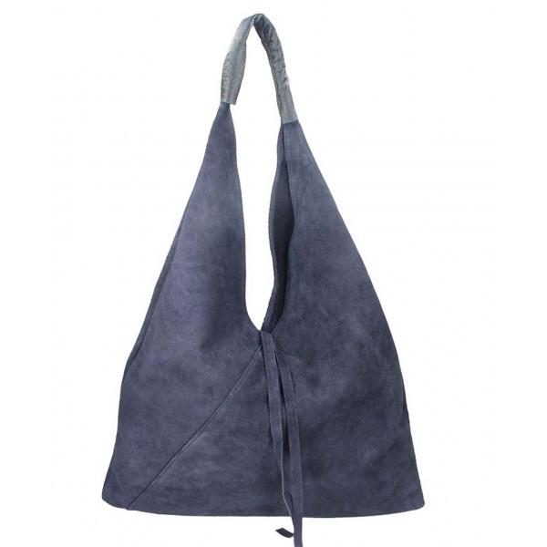 Tmavomodrá kožená kabelka na rameno v úprave semiš 184, Modrá