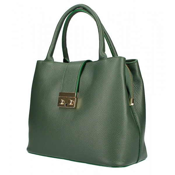 Tmavozelená kožená kabelka 1137 Zelená