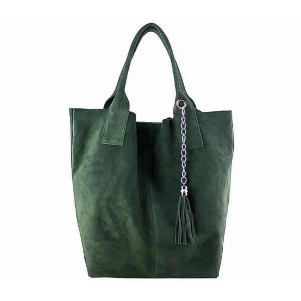 Tmavozelená kožená kabelka v úprave semiš 804, Zelená