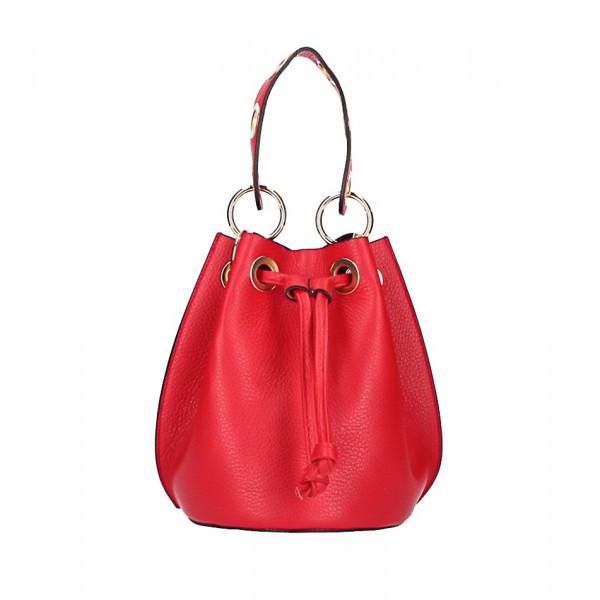 Vaková kožená kabelka 363 červená Červená