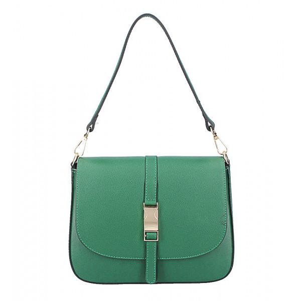 Zelená kožená kabelka na rameno 589, Zelená