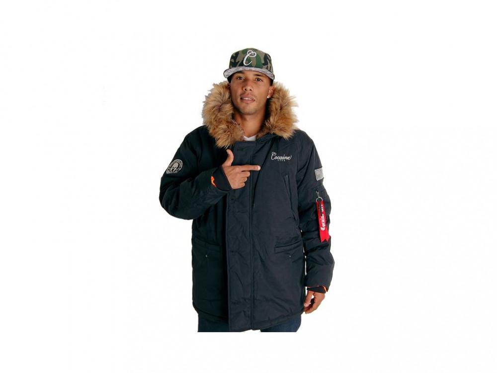 Pánska zimná bunda Cocaine Life Basic Parka Winter Jacket Black ... 035c38f0d1b