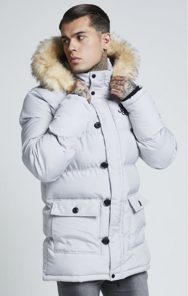 SIK SILK Pánska bunda SikSilk  Puff Parka Jacket – Grey